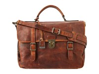 Frye Logan Buckle Briefcase Cognac Antique Pull Up Bags Brown