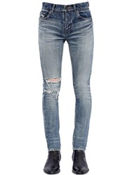 Saint Laurent 15Cm Skinny Destroyed Denim Jeans Blue
