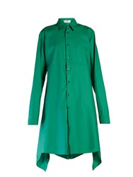Balenciaga Fold Back Striped Shirtdress Green