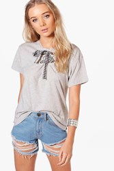 Boohoo Grace Gingham Lace Up T Shirt Grey Marl