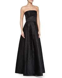 Tracy Reese Strapless Tonal Floral Gown Black