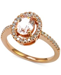 Macy's Morganite 7 8 Ct. T.W. And Diamond 1 4 Ct. T.W. Halo Style Ring In 14K Rose Gold