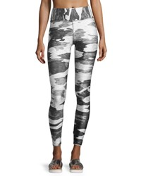 Terez Tall Band Heathered Camo Performance Leggings Gray Gray Pattern