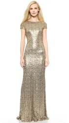 Badgley Mischka Collection Sequin Cowl Back Gown Gold