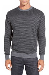 Bugatchi Stripe Crewneck Sweater Black
