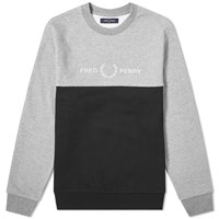 Fred Perry Authentic Block Logo Crew Sweat Grey