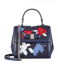 Salvatore Ferragamo Carrie Embroidered Top Handle Bag Female Blue