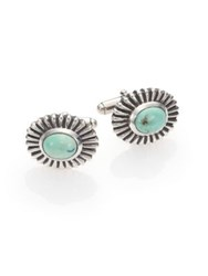 King Baby Studio Turquoise Concho Cufflinks Silver Turquoise