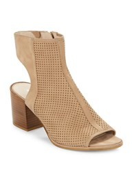 Kenneth Cole Charlo Perforated Leather Ankle Boots Beige