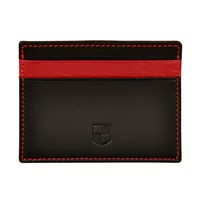 Huckle And Harper Black And Red Lambskin Card Holder Black Red