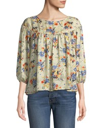 The Great Duskfall Silk Floral Print Top Multi