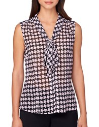 Tahari By Arthur S. Levine Tie Neck Houndstooth Woven Top Rose