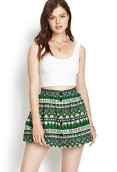 Forever 21 Tribal Print A Line Skirt Green Black