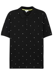 Kenzo Alphabet Embroidered Pique Cotton Polo Shirt Black