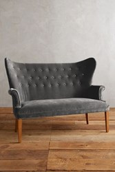 Anthropologie Velvet Wingback Bench Charcoal