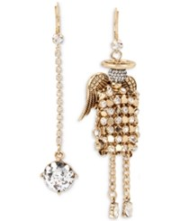 Betsey Johnson Gold Tone Crystal Drop And Angel Mismatch Earrings