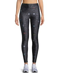 Terez Printed Heathered Tall Band Leggings Black Pattern