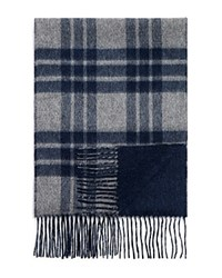 Bloomingdale's The Mens Store At Bloomingdales Plaid Solid Cashmere Scarf Navy Grey