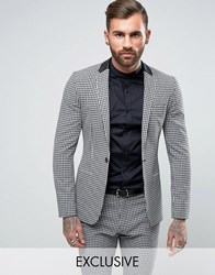 Religion Super Skinny Suit Jacket In Gingham Black White