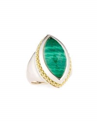 Lagos Passion Marquise Malachite Doublet Ring