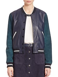 Rag And Bone Alix Two Tone Leather Suede Jacket Navy