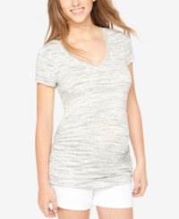 Motherhood Maternity Ruched Tee Grey Spacedye
