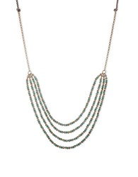 Lonna And Lilly Goldtone Multi Strand Bead Necklace Turquoise