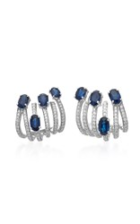 Hueb Spectrum 18K White Gold Diamond And Sapphire Earrings Silver