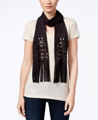 Inc International Concepts Perforated Faux Suede Skinny Scarf Only At Macy's Black