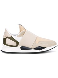 Givenchy Active Line Low Sneakers Women Leather Suede Nylon Rubber 39 Nude Neutrals