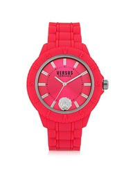 Versace Versus Tokyo Silicon And Silver Tone Stainless Steel Unisex Watch Red