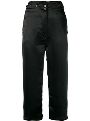 Ann Demeulemeester Cropped Satin Trousers Black