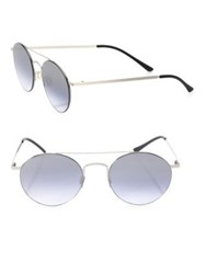 Kyme Leon1 49Mm Round Sunglasses Silver