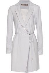 Halston Voile Wrap Dress Gray