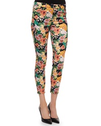 7 For All Mankind Cropped Floral Tropics Print Skinny Jeans