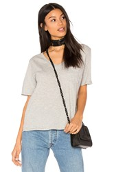 Bobi Light Weight Jersey V Neck Pocket Tee Gray