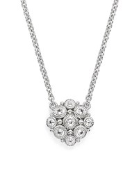 Judith Ripka Sterling Silver La Petite Snowflake Beaded Pendant Necklace With White Sapphire 17 White Silver