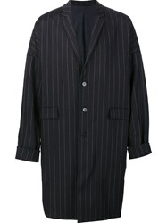Juun.J 'Cocoon' Pinstriped Coat Blue