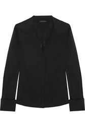 Donna Karan Stretch Silk Chiffon Blouse Black