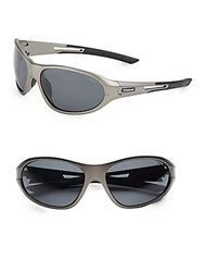 Polaroid 70Mm Wrap Sport Sunglasses Grey Black