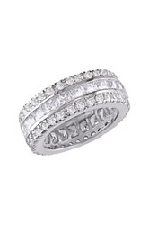 Sterling Silver Princess And Round Cz Eternity Ring Metallic