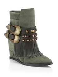 Ivy Kirzhner Santiago Studded Fringed Leather And Suede Booties Green