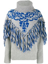 Sacai Fringe Detail Knit Jumper Grey