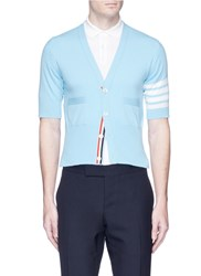 Thom Browne Stripe Short Sleeve Cashmere Cardigan Blue