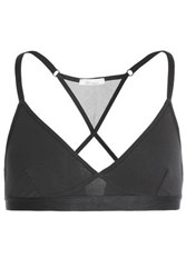 Skin Mesh Paneled Cutout Supima Cotton Blend Jersey Sports Bra Charcoal