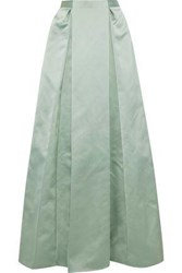 Zac Posen Pleated Satin Maxi Skirt Mint