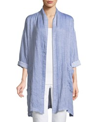Eileen Fisher Crinkle Gauze Kimono Coat Plus Size Chambray