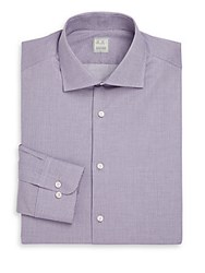 Ike Behar Regular Fit Micro Plaid Dress Shirt Ice Lilac