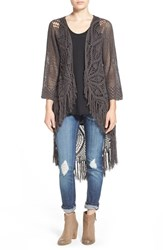 Junior Women's Rip Curl 'Setting Sun' Crochet Long Cardigan