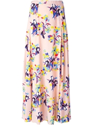 P.A.R.O.S.H. Floral Print Maxi Skirt Pink And Purple